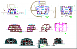 Floor plan,sectional view,elevation and roof plan view of bungalows dwg file