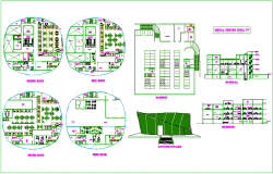 Floor plan,elevation and section view of media center dwg file