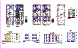 Floor plan,elevation and sectional view with door and window detail for house design dwg file