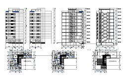 Floor plan and Exterior elevation of a building with 9 floors dwg fie