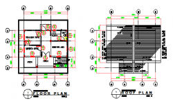 Floor plan and Roof plan design drawing of Small hospital design drawing