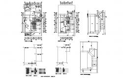 Floor plan and auto-cad details of two-story house dwg file