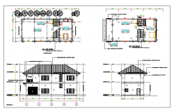 Floor plan and elevation of a house dwg file