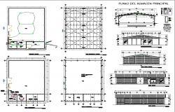 Floor plan and elevation of camp shop with architecture view dwg file