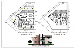 Floor plan and exterior elevation of a bungalow dwg file