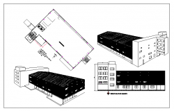 Floor plan and exterior elevation of a warehouse dwg file