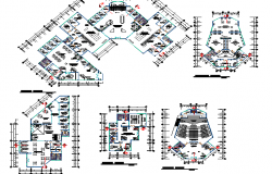 Floor plan and layout plan details of finance center building dwg file