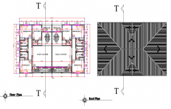 Floor plan and roof plan detail dwg file