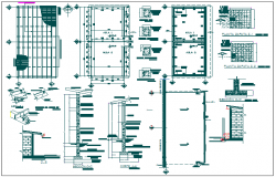 Floor plan and section detail view of primary school with structural detail dwg file
