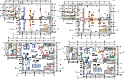 Floor plan architecture layout details of bank agency building dwg file