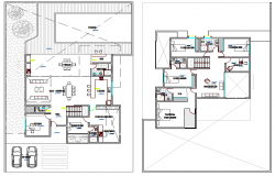 Floor plan architecture layout of two flooring house dwg file