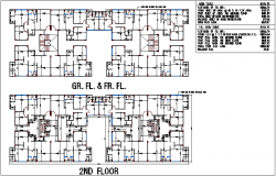 Floor plan design view of apartment with plot area calculation dwg file