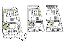 Floor plan details of BMW automobile showroom dwg file