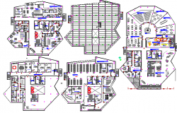 Floor plan details of all floors of convention center dwg file