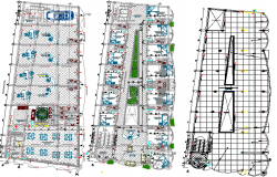 Floor plan details of corporate building dwg file