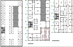 Floor plan details of corporate office building dwg file