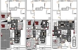 Floor plan details of multi-family house dwg file