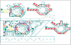 Floor plan details of multi-flooring college with landscaping dwg file