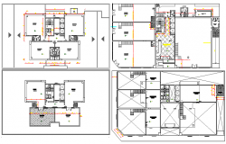 Floor plan details of multi-flooring commercial building dwg file