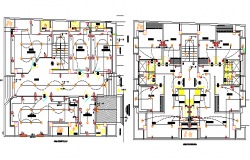 Floor plan details of multi-flooring corporate building dwg file