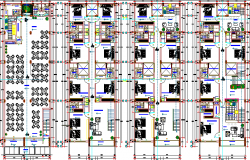 Floor plan details of multi-flooring housing building dwg file