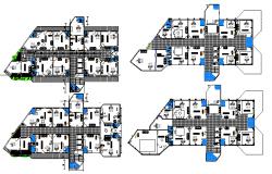 Floor plan details of multi-flooring office building dwg file