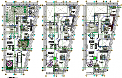 Floor plan details of multi-level residential building dwg file