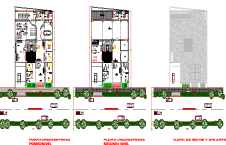 Floor plan details of office building with outdoor road dwg file