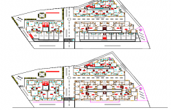 Floor plan details of residential apartment building design dwg file
