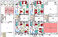 Floor plan details of residential housing apartment building dwg file