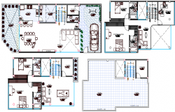 Floor plan details of single family house dwg file