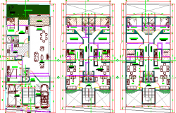 Floor plan details of three flooring bungalow project dwg file