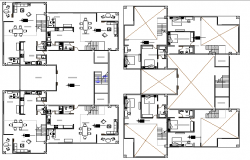 Floor plan details of two flooring house dwg file