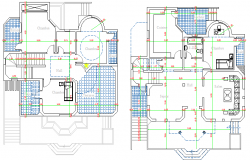 Floor plan details of two flooring modern bungalow dwg file