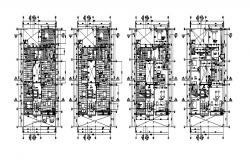 Floor plan distribution details of multi-family apartment building cad drawing details dwg file