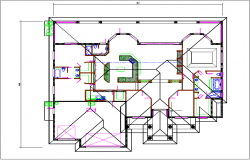 Floor plan layout and roof plan projection layout view detail dwg file