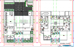 Floor plan layout details of bank and office building dwg file