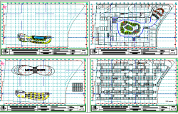 Floor plan layout details of building with office, hotel dwg file