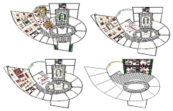 Floor plan layout details of corporate building dwg file