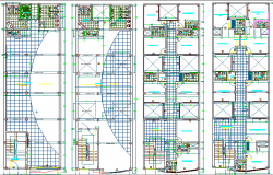 Floor plan layout details of four flooring office building dwg file