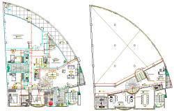 Floor plan layout details of local commercial office dwg file