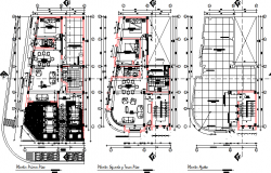 Floor plan layout details of multi-family housing building dwg file