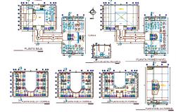 Floor plan layout details of multi flooring hotel dwg file
