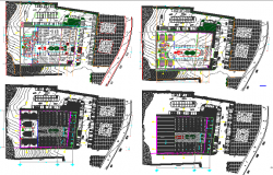 Floor plan layout details of multi-flooring shopping center dwg file