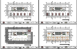Floor plan layout details of multi-level administrative building dwg file