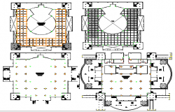 Floor plan layout details of religious mosque dwg file