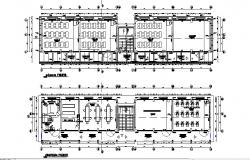 Floor plan layout details of school building dwg file