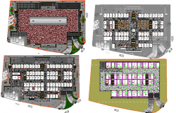 Floor plan layout details of talcotepec market dwg file