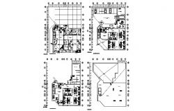 Floor plan layout details of three star hotel building dwg file