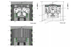 Floor plan layout details of twin duplex house dwg file